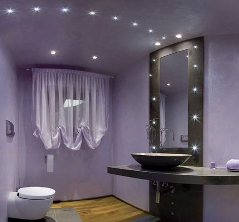 Create a unique atmosphere in your home with LED spot lights and wall beams (http://saltoweb.biz)Bathroom Design, Powder Room, Bathroom Colors, Small Bathroom, Colors Design, Colors Schemes, Bathroom Ideas, Bathroom Lights, Painting Colors