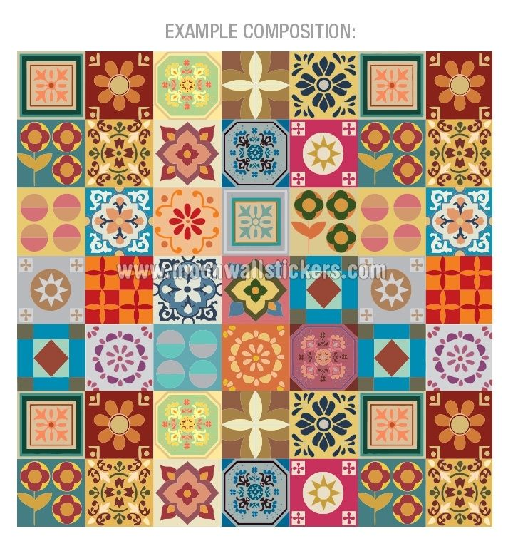 Apply this Tile Patchwork Stickers in any flat surface. If you are looking for a piece of art, Tile Patchwork Stickers is the perfect choice.