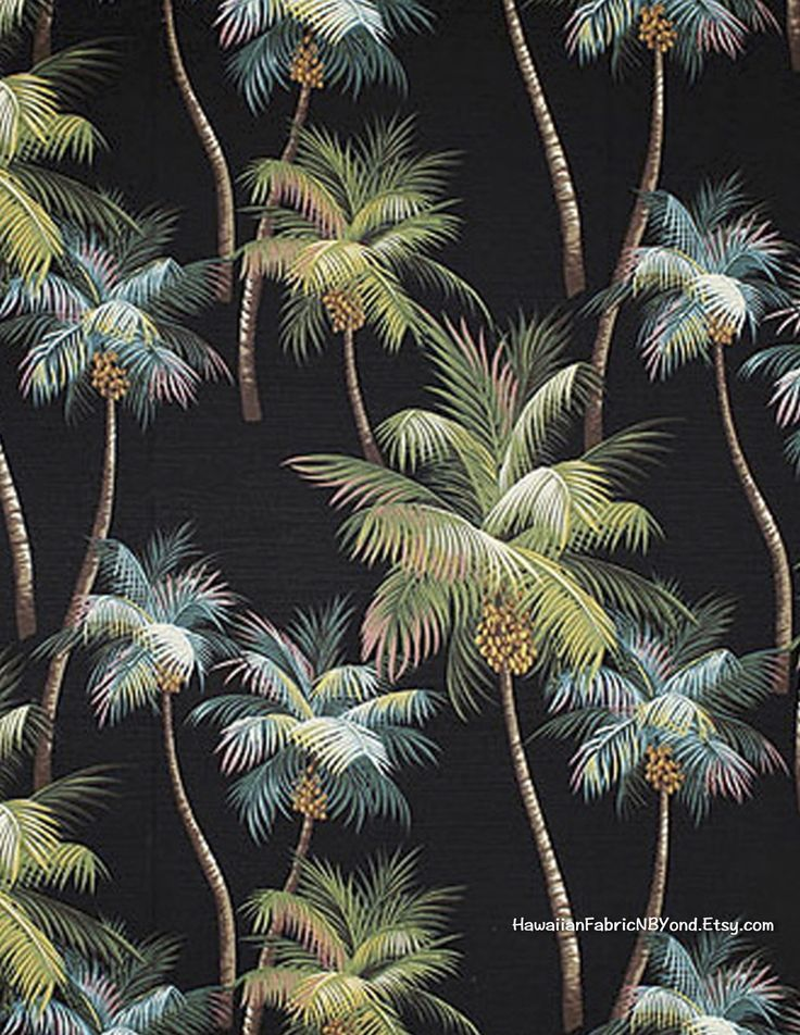 Upholstery fabric: Stunning array of Palm trees on a black background for bedding duvet, furniture and drapery. By HawaiianFabricNBYond.Etsy.com