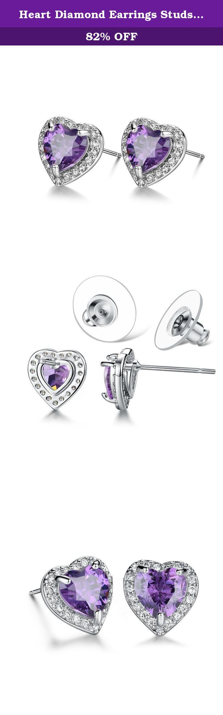 """Heart Diamond Earrings Studs, Purple Heart Cubic Zirconia Stud Earrings - Christmas Gifts for Women, Girls, Teen Girls. Heart Earrings for Women, Girls, Teen Girls, Mother, Mom, very good Christmas Gifts Idea for Your Love. Christmas 2016 Gifts for Women, Girlfriend, Mom. Christmas Gifts for Girls. We have confidence that : with the same price, we have the best quality; with the same quality, we have the best price. Purple Heart Earrings studs Specifications: 0.4x0.4"""", Main Stone: AAA…"""