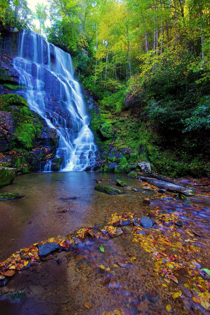 Eastatoe Falls in the North Carolina mountains near Brevard [aka my gparent's waterfall]