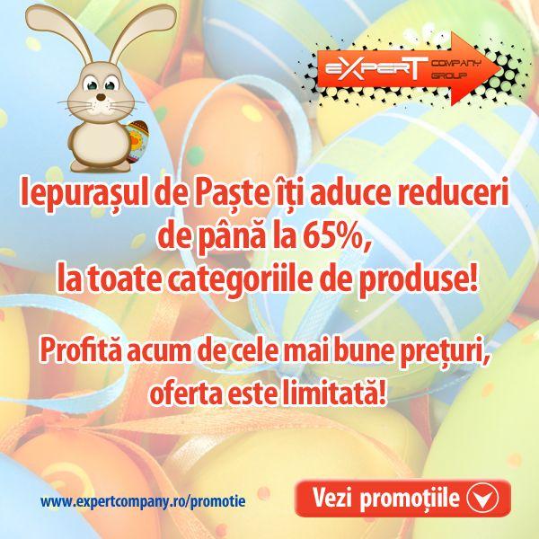 Iepurasul de Paste iti aduce reduceri de pana la 65%, la toate produsele din oferta Expert Company! Profita acum de cele mai bune preturi, oferta este limitata!
