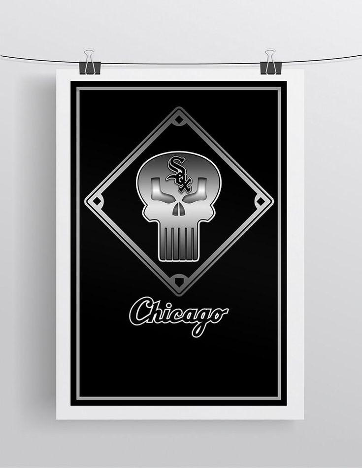 Chicago White Sox Punisher Poster, White Sox Punisher Logo Gift, Chicago White Sox Layered Man Cave Art