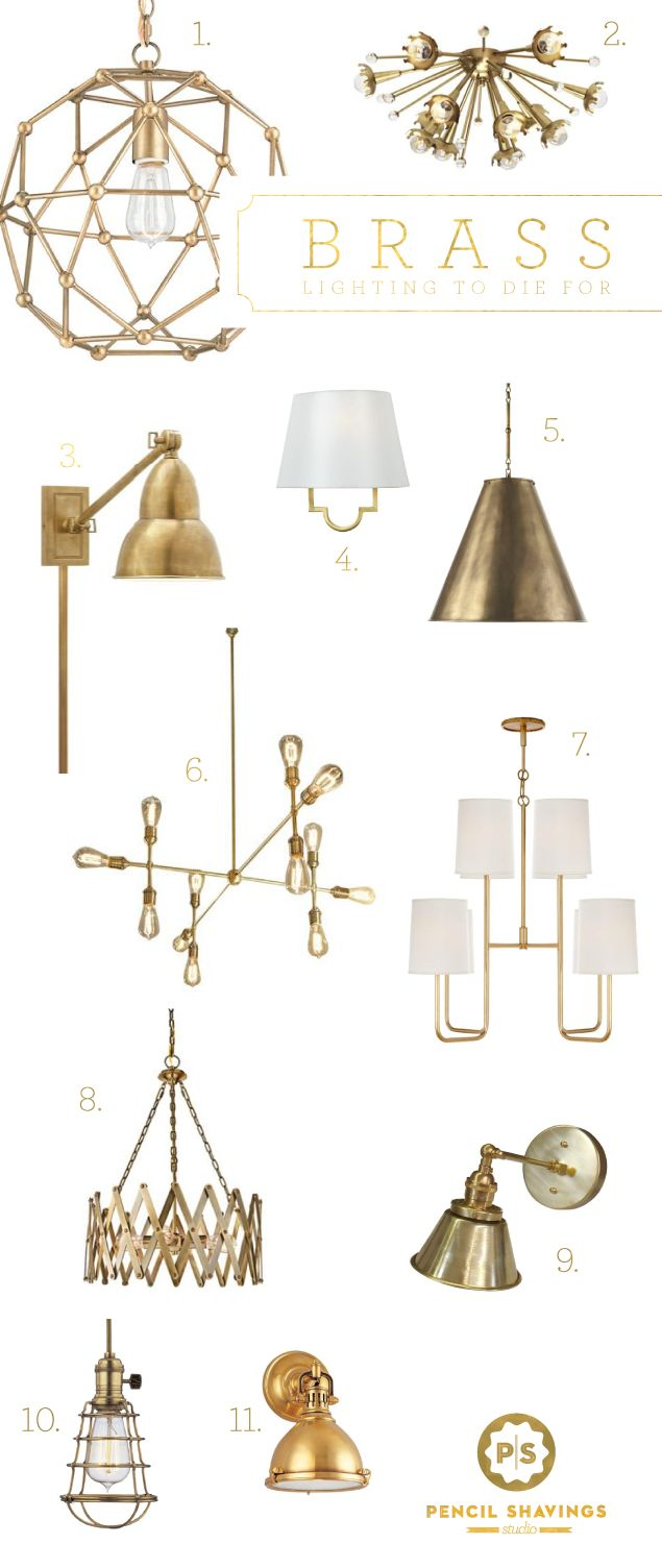 @psstudio top picks for brass lighting, brass sconces, gold hardware, brass chandelier, brass fixtures, www.pencilshavingsstudio.com