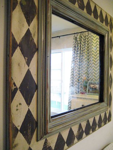 Good idea to enlarge a mirror frame! Apply wooden peace behind it...