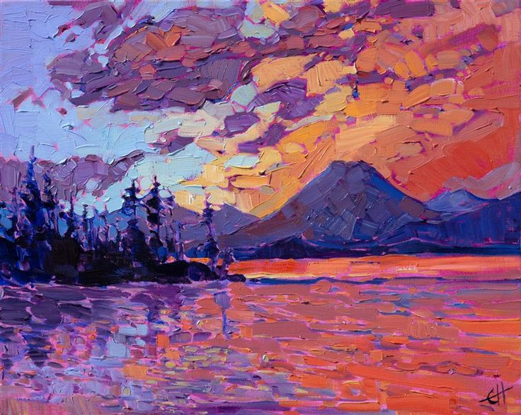 Petite painting of the Cascade mountains, in abstracted impressionist style.