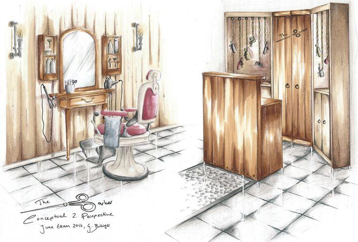 Project: June Exam - Barber Shop Presentation: Perspective Drawing Student: Gillian Bolliger