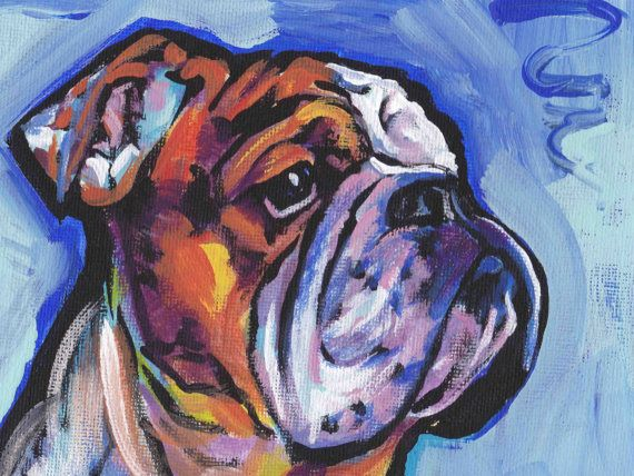 Bulldog art print pop dog art bright colorful dog by BentNotBroken, $22.99