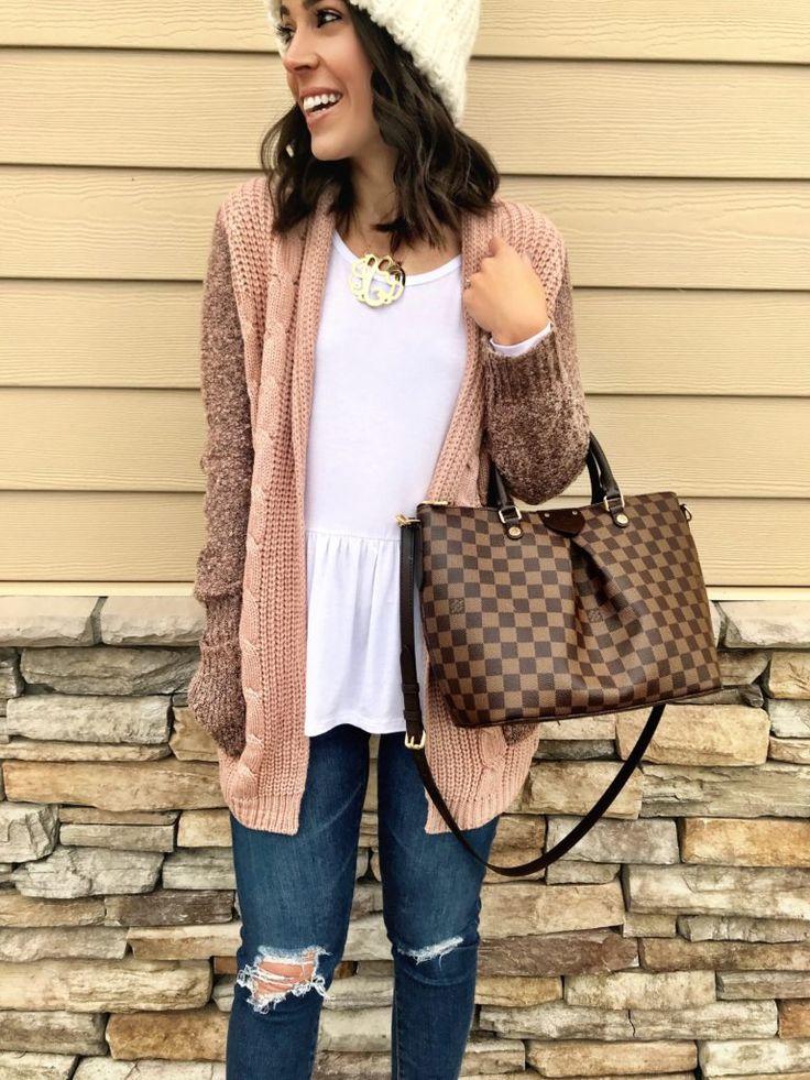 White peplum top, mixed knit cardigan, & Louis Vuitton bag | Cute way to wear Winter white