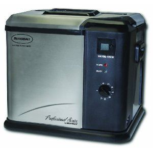 Butterballs electric turkey fryer!  Countertop safe and you can fry your turkey in less than one hour.  Fried turkey is so much better.