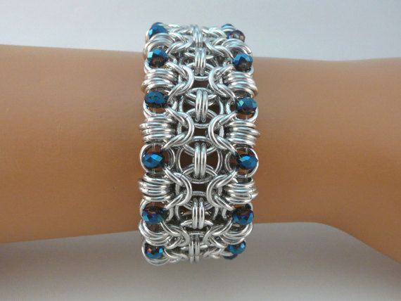 Rondo chainmaille cuff style bracelet with blue crystals, chainmail bracelet, chain mail bracelet, chain maille bracelet
