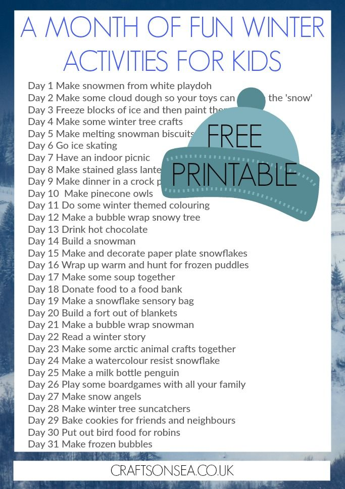 A Month of Fun Winter Activities for Kids: Free Printable