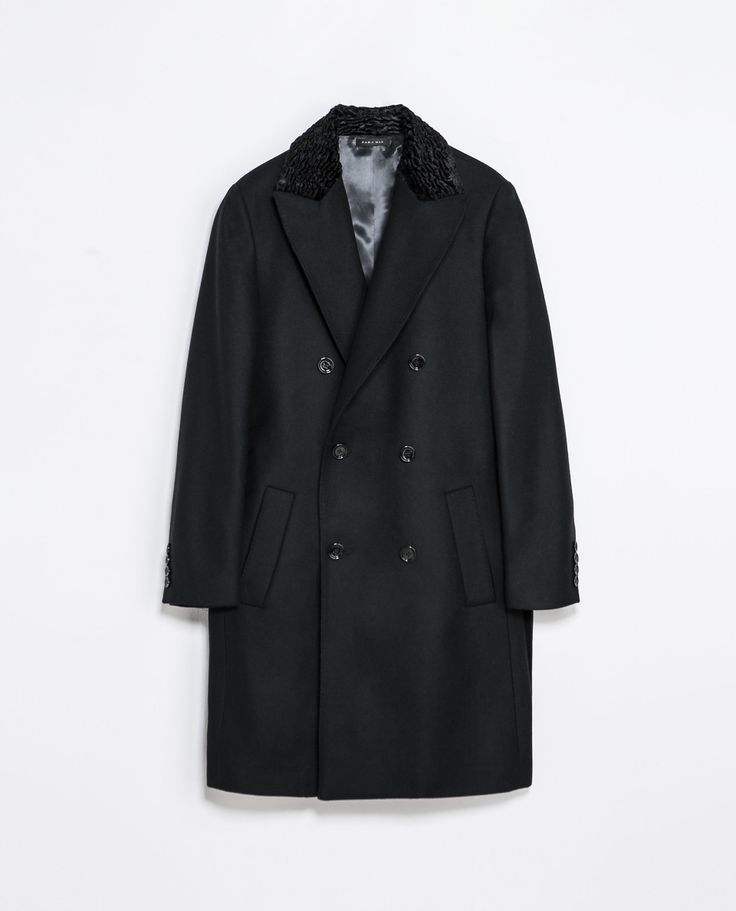 Zara COAT WITH CONTRASTING COLLAR  Ref. 1564/322  299.00 CAD               OUTER SHELL  80% WOOL, 20% POLYAMIDE  LINING  55% POLYESTER, 45% VISCOSE
