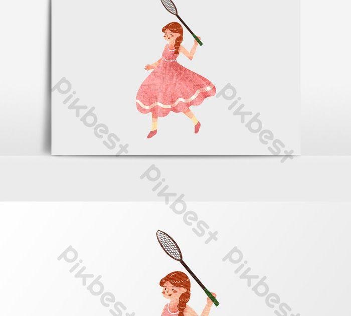 26 Gambar Kartun Anak Bermain Bulu Tangkis Pakaian Merah Kartun Bermain Badminton Gadis Ilustrasi Psd Download Tutorial Bermai Kartun Gambar Kartun Gambar