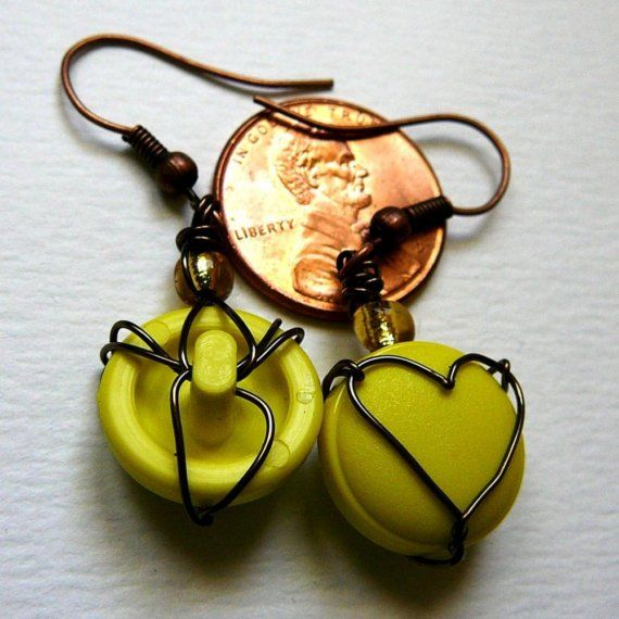 Yellow Heart Earrings from Upcycled Vintage Buttons