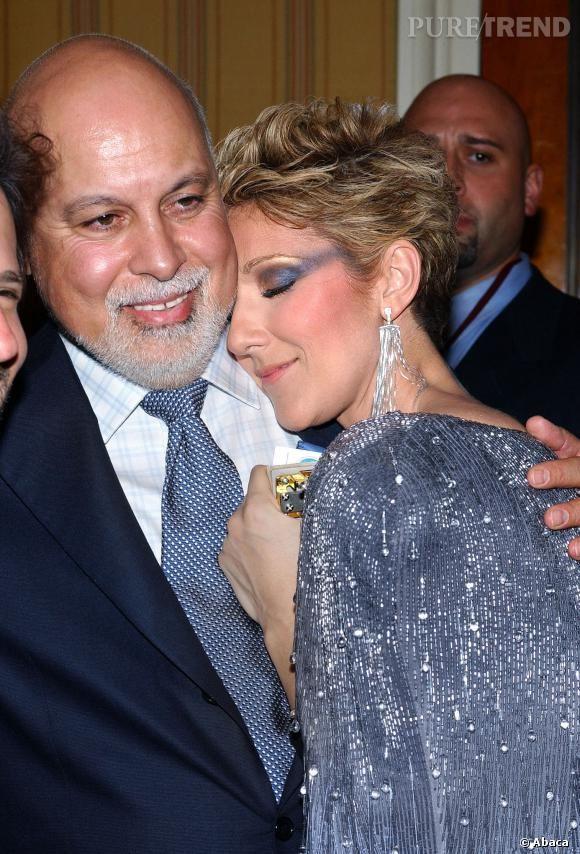 René Angelil et Céline Dion très calins comme toujours.