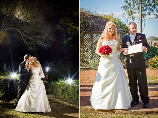 """Real Life Bride  Kellie and Luke, 25 August 2012  Real Life Bride Kellie'sTestimonial:  """"I met Roz and her stylist at Penrith Bridal November 2011, I chose my dress and the stylist help me accessorise my dress with the broche that was sewn onto the dress, I loved my dress and so many guests commented on how beautiful the broche was on the dress"""" – Kellie  #rozlakelin #bridal #bride #wedding #beautiful #designer #couture #fashion"""