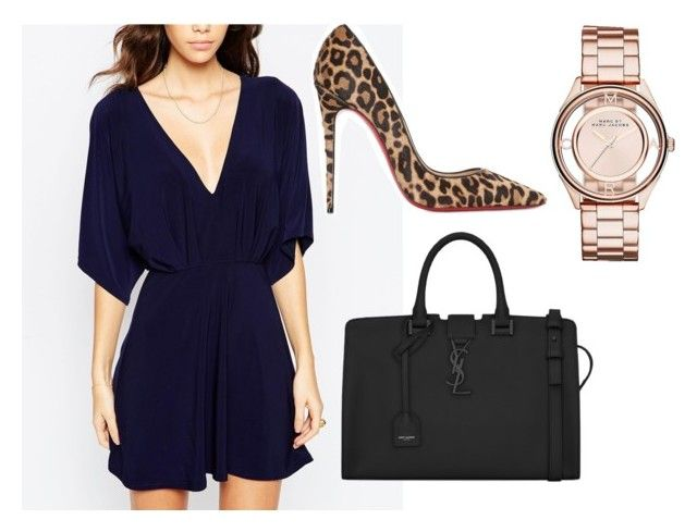 """Elegantly casual"" by tania-minnaar on Polyvore featuring ASOS, Christian Louboutin, Yves Saint Laurent, Marc by Marc Jacobs, marcjacobs, blackdress, yvessaintlaurent and KimonoDress"