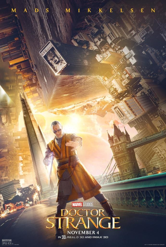 Marvel Studios has released three more trippy character posters for Doctor Strange, and these put the spotlight on The Ancient One (Tilda Swinton), Mordo (Chiwetel Ejiofor), and Kaecilius (Mads Mikkelsen).