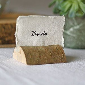 Wooden Bark Card Holders Set Of Four - rustic wedding