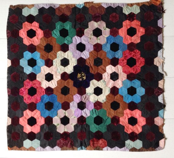 Hexagon patchwork piece for cushion front sewing by VelvetEra