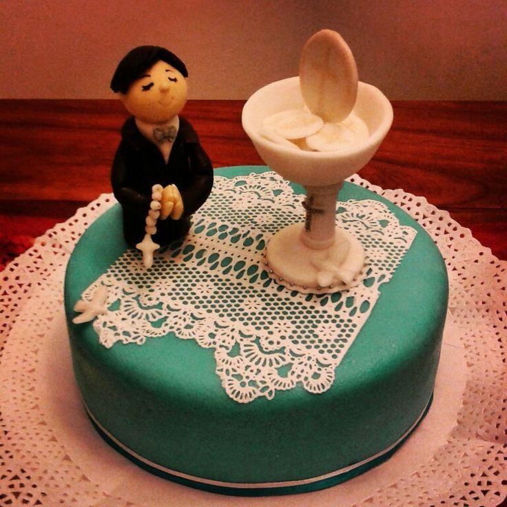 Torta primera comunión turquesa