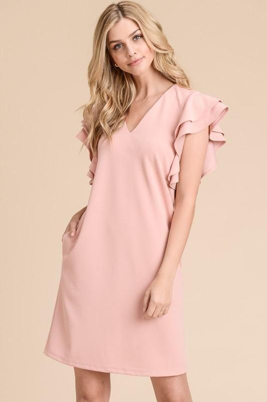 Camryn Double Ruffle Sleeve Dress in Blush