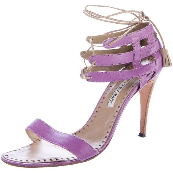 Pre-owned Manolo Blahnik Leather Cutout Sandals ($95) ❤ liked on Polyvore featuring shoes, sandals, cut-out shoes, lavender shoes, manolo blahnik sandals, laced up shoes and laced shoes