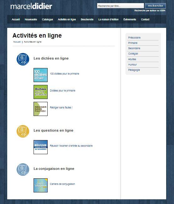 Activités en ligne: Édition Marcel Didier