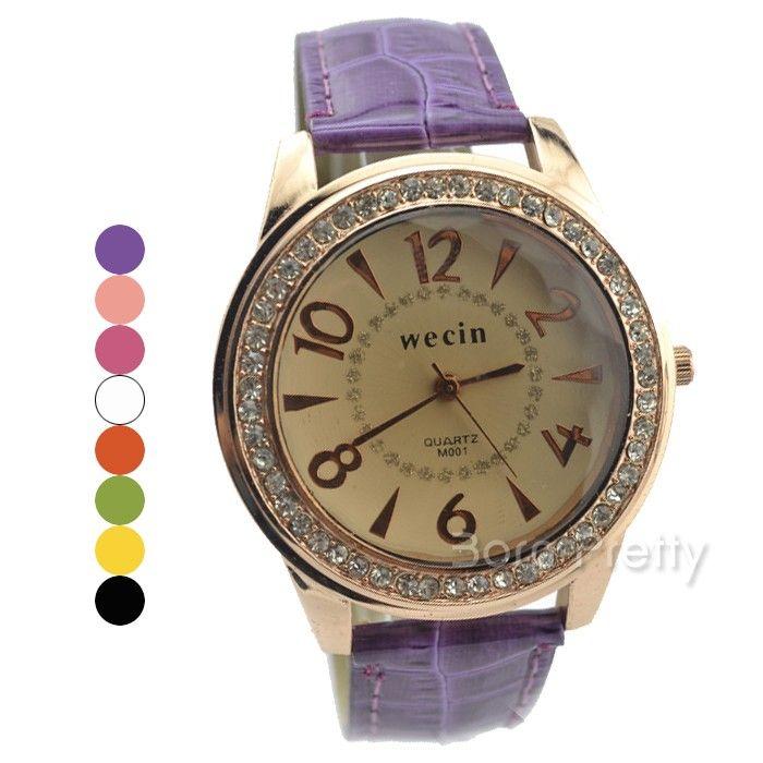$5.85 Posh Rhinestone Studded Watch Unisex Quartz Analog Big Dial Leather Band Watch - BornPrettyStore.com