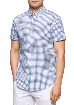 Calvin Klein Men's Short Sleeve Yarn Dyed Micro Window Check Shirt - Light Bay Blue - 2Xl