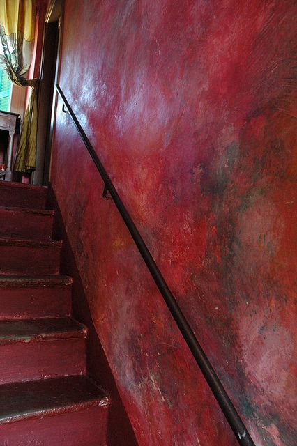 hand painted ancient plaster entry: Colour Stairca, Hands Paintings, Interiors Design, Steep Stairs, Fave Colors, Paintings Panels Wall Red, Big Spaces, Red Stairs, Inspiration Red