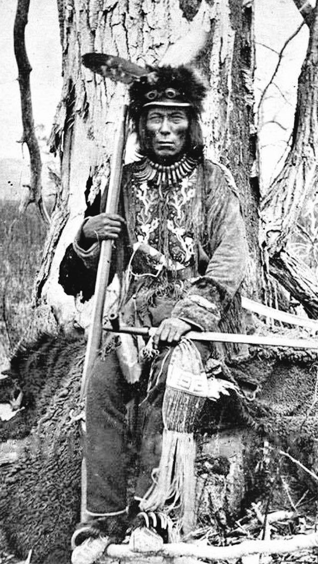 Chief Mato Wakan - Medicine Bear - of the Pabasksa (Cut Head) Band of the Upper Yanktonai Tribe- 1870. He was the princcipal Sioux signator of the 1886-1887 treaty, which led to the establishment of the Fort Peck Reservation in 1888. [The History of the Assiniboine and Sioux Tribes of the Fort Peck Indian].