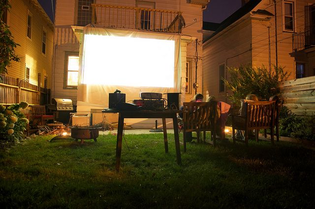 How to host an outdoor movie party - Ryan and I's place is perfect for this!