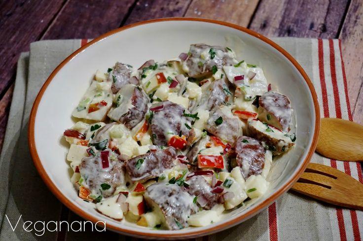 Salada de Batatas com Maionese Vegana e Maçã