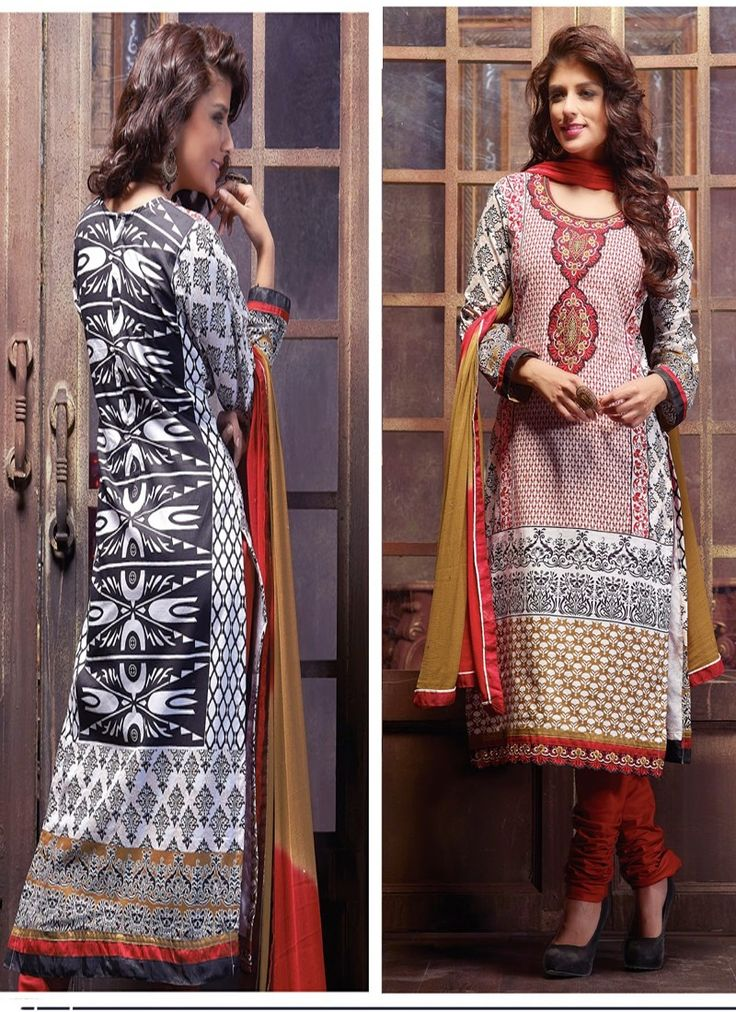 Red & Ivory Cambric Cotton Churidar Suit