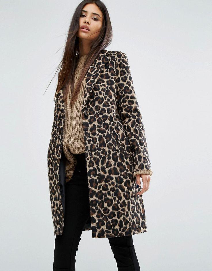 Image 1 ofRiver Island Leopard Coat