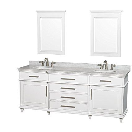 Website Picture Gallery Wyndham Collection Berkeley inch Double Bathroom Vanity in White with White Carrera Marble Top with