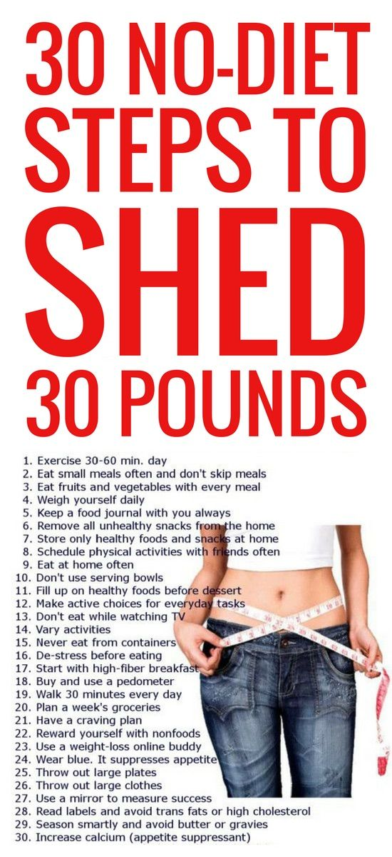 30 no-dieting tips to lose 30 pounds fast.