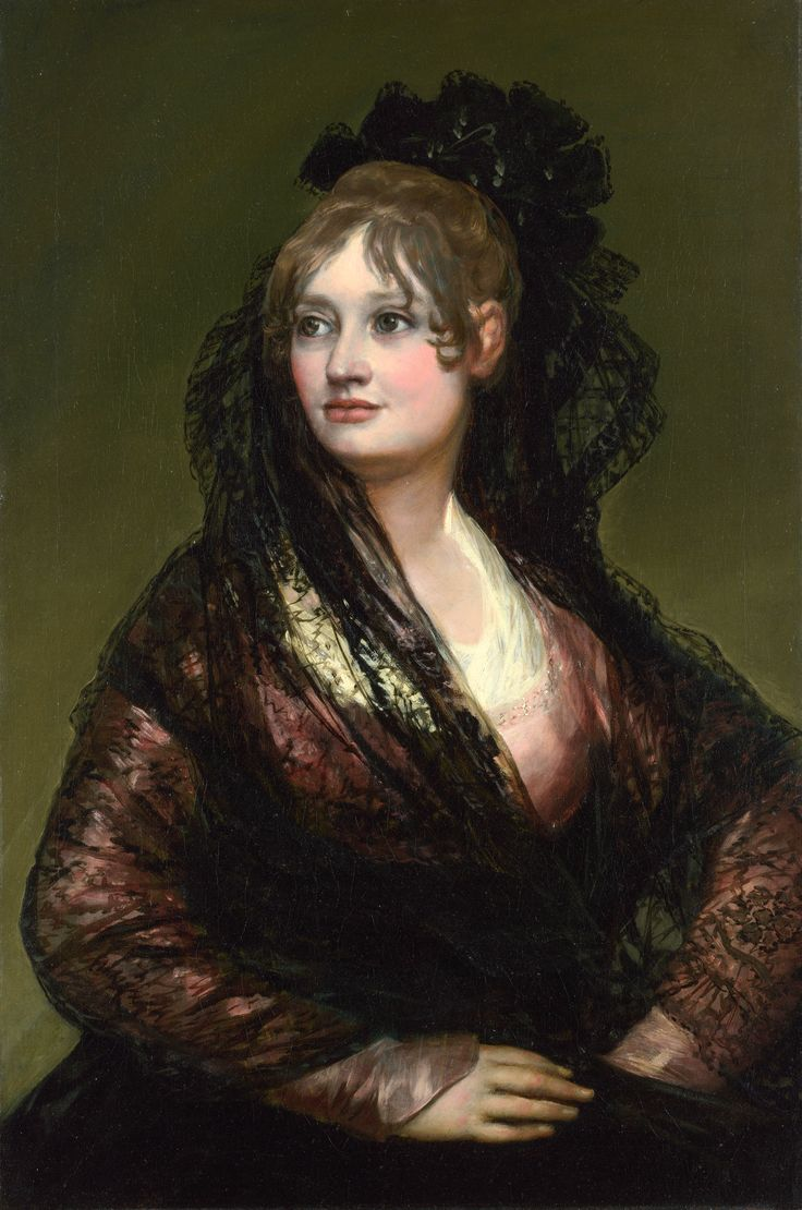 Portrait of Doña Isabel Cabos de Porcel wearing a mantilla, by Francisco Goya, ca. 1805  It began w peineta, tall comb worn by Spanish women under mantilla, traditional translucent lace head covering, or by flamenco dancers as decorative hairpieces. Aspects of comb tradition go back hundreds of years, but accessory as we know it today took root in 18th c. & came to full fulgor early 19th c. -crossed Atlantic, establishing itself in Spanish Latin America where took on unique character.