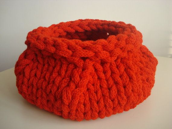 Red Hand Knitted Basket  Bowl Vase Container Natural by ELITAI, ( Mega Big Knitting )