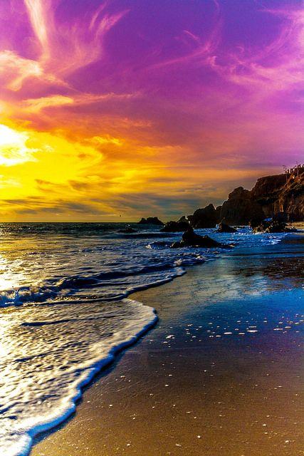 AMAZING SUNSET beach sky purple yellow | von JJDPhotography