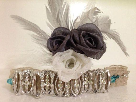Vintage inspired bridal garter with swarovski crystal jeweled bracelet & lace with finished detail on back. facebook.com/LeeJames.vintagepetals
