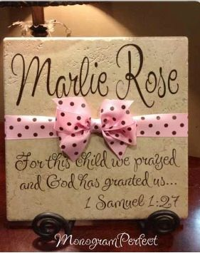 Personalised tile with verse for nursery.  DIY with Cricut vinyl.....  See even more by checking out the image link