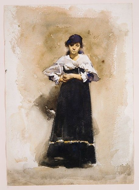Young Woman with a Black Skirt / John Singer Sargent / early 1880s / Watercolor and graphite on white wove paper