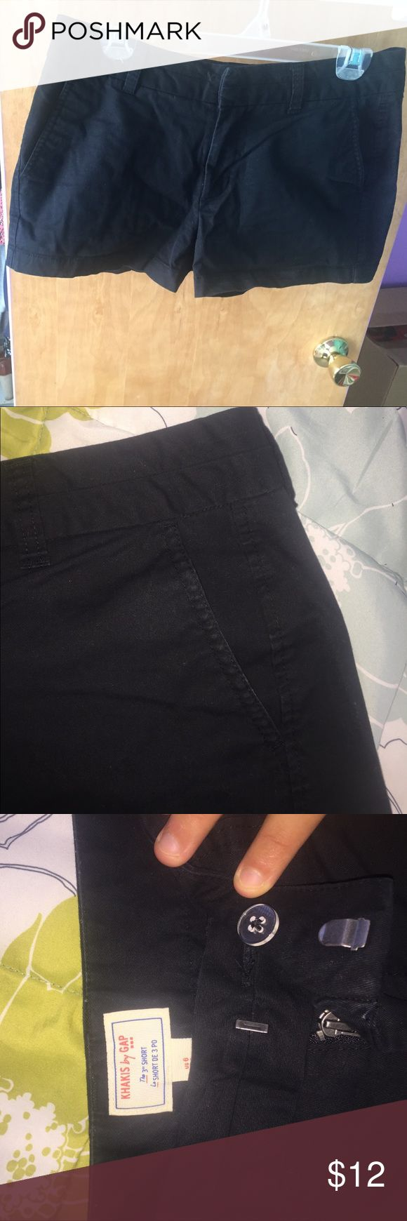 "Black Khaki shorts GAP 3"" inseam. Black khaki shorts in great condition. Size 6. Metal clasp and zipper, back pockets have buttons. GAP Shorts"
