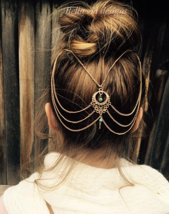 Teenager Hair Chain Jewelry, Silver Or Gold Chain With Turquoise Beads, Hair Accessory For Teen Gift, Head Chain Teenager Girl Gift by BellaViaDesigns on Etsy https://www.etsy.com/listing/514744919/teenager-hair-chain-jewelry-silver-or