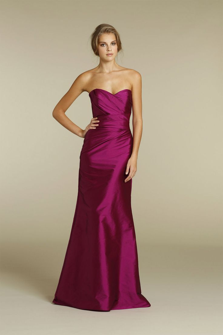 Add some luxe to your bridesmaids' look with this deep raspberry gown from Alvina Valenta.