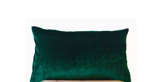 Emerald green lush velvet and oatmeal linen  Velvet by AmoreBeaute