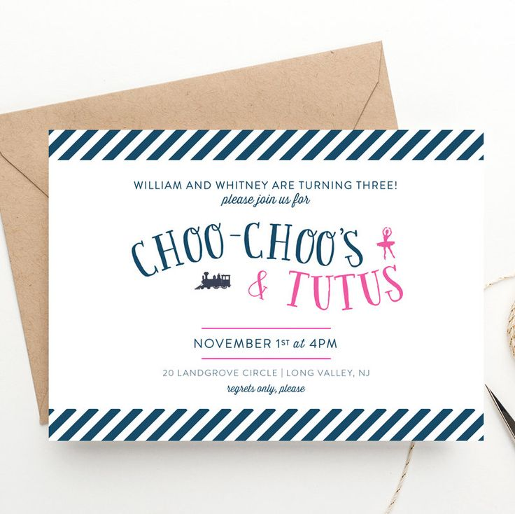 Choo Choo and Tutu Themed Birthday Invitation | Twins Birthday  | Multiple Children Party | Trains and Ballerinas |  Printed Invites or DIY by BellaCartaBoutique on Etsy https://www.etsy.com/listing/249187946/choo-choo-and-tutu-themed-birthday